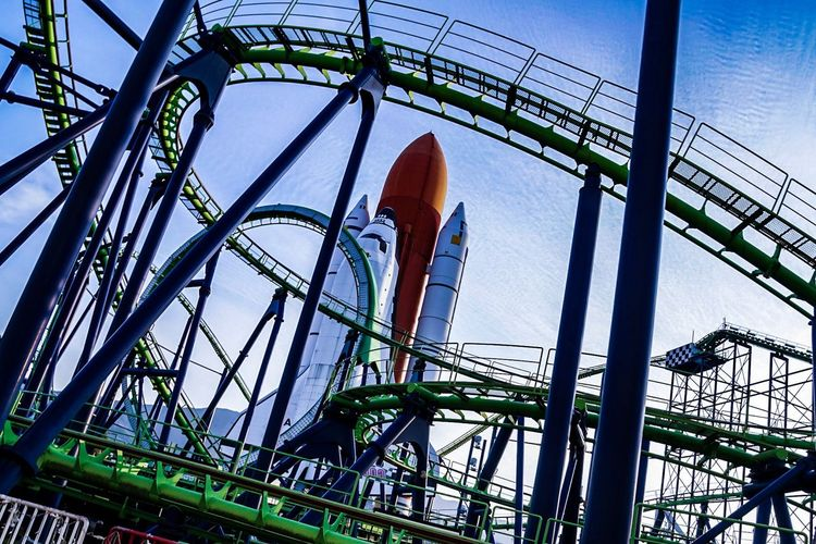 Space World Fukuoka, Japan Low Angle View Rollercoaster Built Structure Day Architecture Outdoors Sky No People Golf Club Japan Space Landscape Spaceshuttle NASA