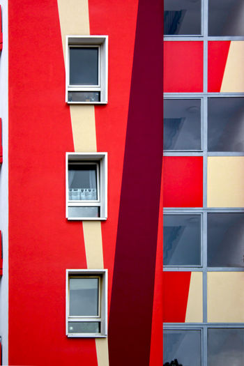 Berlin's Sequence. FILIPPI GIULIA PHOTOGRAPHY. Architecture Berlin Building Exterior Built Structure Canon City Close-up Colorful Colors Geometric Shape Germany Glass House Lines Minimal Minimalism Minimalist Architecture Outdoors Pattern Photography Photooftheday Red Reflection Urban Window