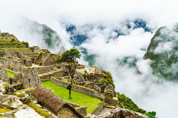 View of machu picchu during foggy weather