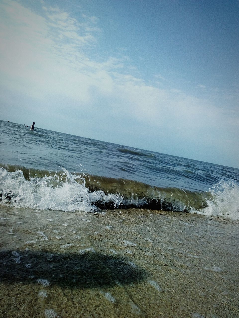 sea, water, horizon over water, nature, beach, sky, scenics, beauty in nature, wave, outdoors, tranquil scene, tranquility, day, one person, standing, real people, people