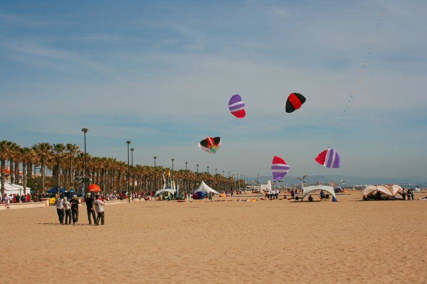 Wind Festival 2017, Valencia, Spain Beach Flying Kite Festival Kite Festival Valencia Kite Flying Large Group Of People Leisure Activity Lifestyles Outdoors Real People Sand Sea Sky Vacations Water