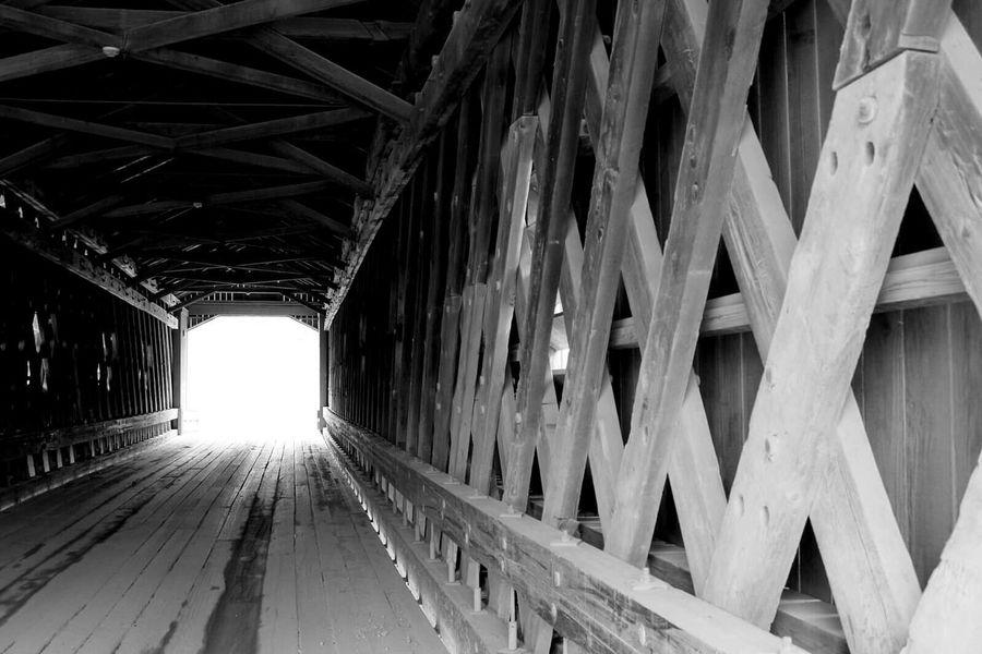 Covered Bridge Ohio Ashtabula County Tunnel View Lattice Pattern Wooden Black & White Perspective Light