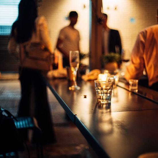 People at bar counter