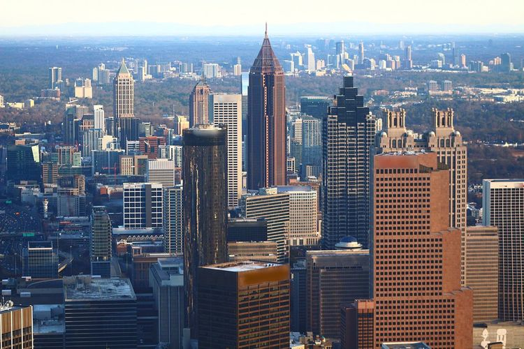 Urban Skyline Tower Crowded Aerial View Built Structure Downtown Outdoors Day Growth Sky