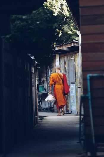Rear View Of Monk Walking On Footpath