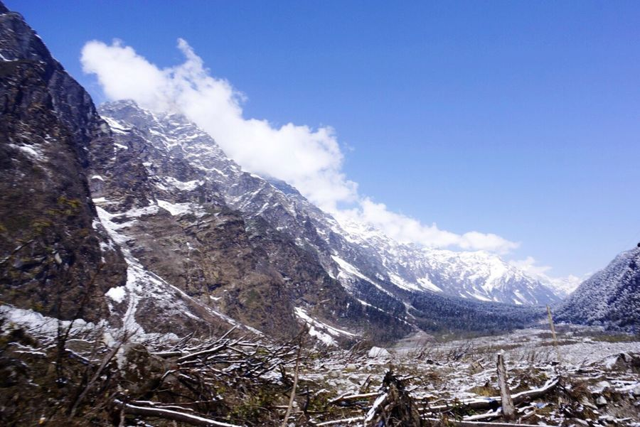 On the way to Zeropoint from Yumthang Valley Lachung Sikkim India Snow Mountains