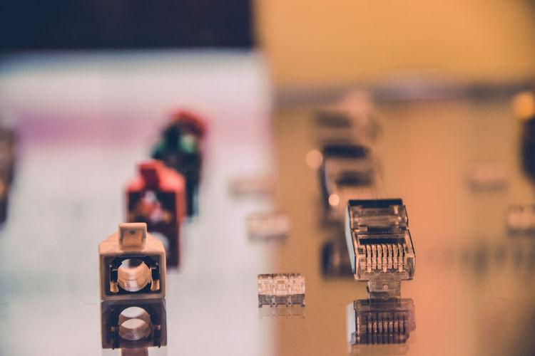 Plug adapter on table