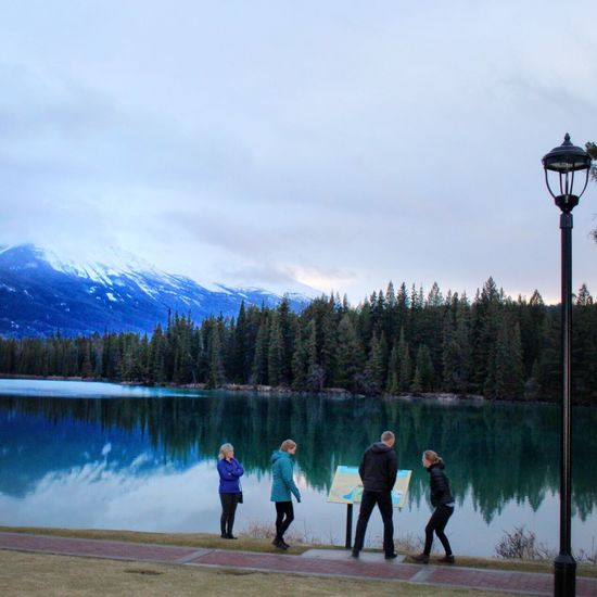 Leisure Activity Mountain Nature Snow Lake Sky Scenics Real People Cold Temperature Winter Men Lifestyles Outdoors Day Beauty In Nature Vacations Adventure Family Fun Canadian Rockies  Neighborhood Map