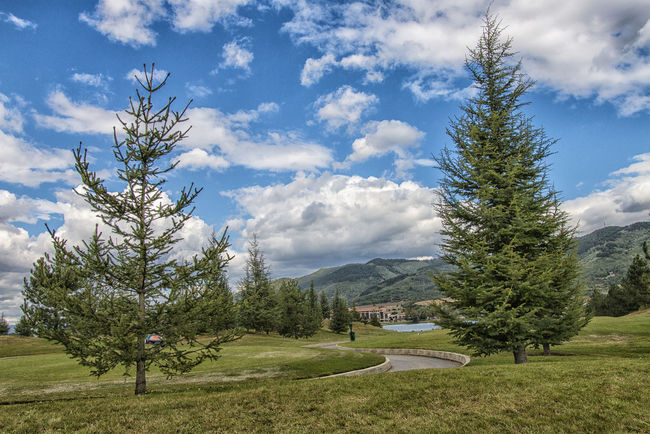 Bułgaria Golf Course Pravetz Beauty In Nature Cloud - Sky Day Grass Green Color Growth Landscape Mountain Mountain Range Nature No People Outdoors Scenics Sky Tranquil Scene Tranquility Tree