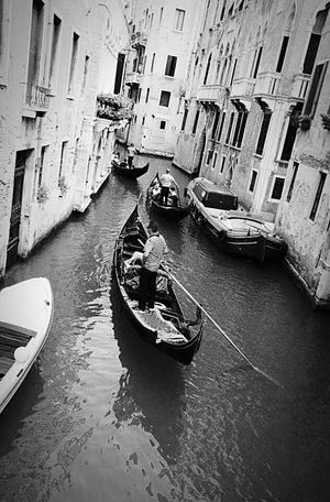 Venezia Italy Gondola Life Black & White Black And White
