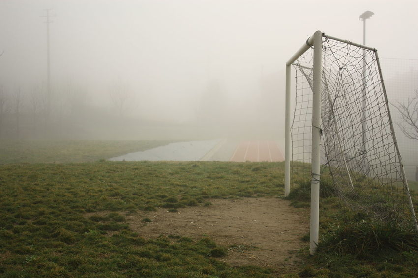 Field Football Goal Green Fog Foggy Foggy Morning Goal No People Sport