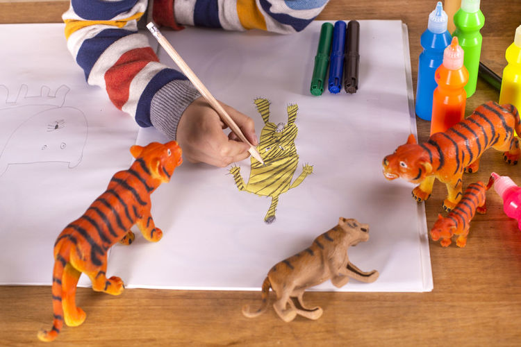 High angle view of boy with toy toys on table
