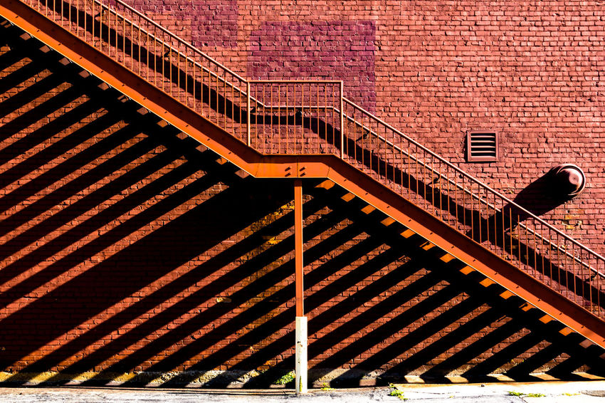 Brick Wall Stairs Steps Architecture Brick Building Exterior Built Structure Day Geometry Minimal No People Outdoors Shadow Staircase The Graphic City