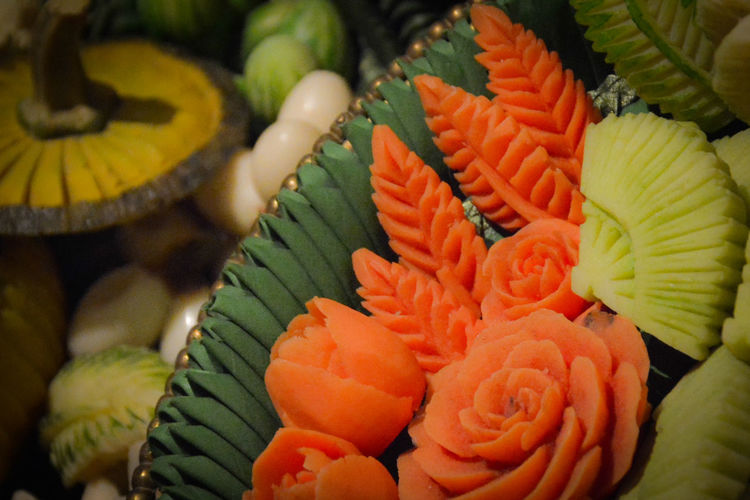 Vegetable carving, Thai handicrafts Boiled Vegetables Carrot Close-up Food Fragility Freshness Healthy Eating Thai Handicrafts Vegetables