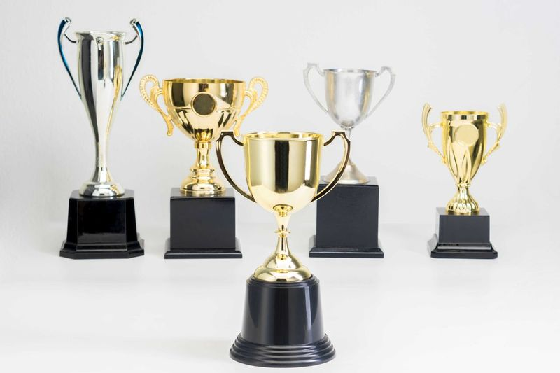 Variety of Trophy Cup on white background Trophy AWARD Success Achievement Winning Studio Shot Gold Colored Indoors  Shiny White Background Still Life Gold No People Competition Cut Out Sport Pride Side By Side Metal Close-up