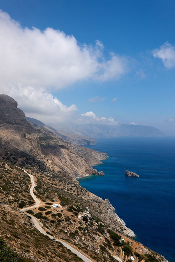 Amorgos Coast Beauty In Nature Blue Cloud - Sky Day High Angle View Idyllic Land Mountain Nature Nautical Vessel No People Non-urban Scene Outdoors Rocky Coastline Scenics - Nature Sea Sky Tranquil Scene Tranquility Transportation Water