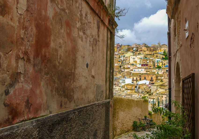 Ragusa Ibla Built Structure Architecture Building Exterior Building City Residential District Sky Day Wall - Building Feature Nature No People Cloud - Sky Town Wall House Outdoors Old Plant Narrow Tree Alley TOWNSCAPE Ragusa Ibla, Sicily Ragusa Sicily