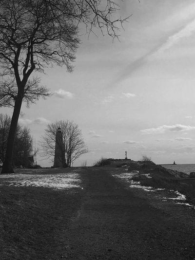 Tree Silhouette Outdoors Cloud - Sky Lighthouse Freezing ❄ Beach