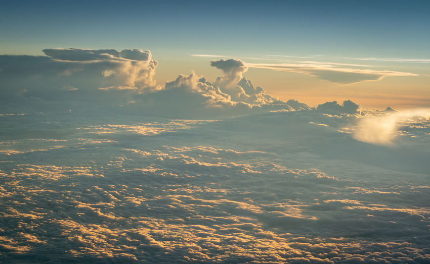 Sunset cloudscape over the balkans, shot from an airliner