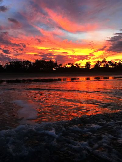 Fire like sky on an action walk on the beach. Sunset Orange Color Beauty In Nature Scenics Water Nature Tranquil Scene Sea No People Cloud - Sky Sky Tranquility Reflection Dramatic Sky Outdoors Silhouette Wave