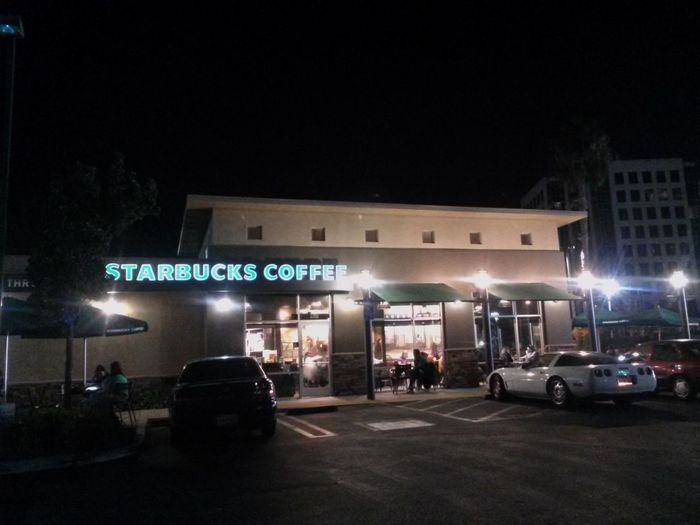 Lets get this night started. Starbucks Urban Landscape Nighttime Coffee