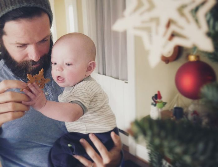 Father and son at home during christmas