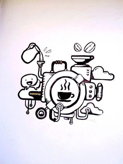 macine of coffee Cofee Coffee Cup Coffe Macine Coffee ☕ Coffe Ink Pencil Drawing Sketch Doodle Paper Business Drawing - Art Product