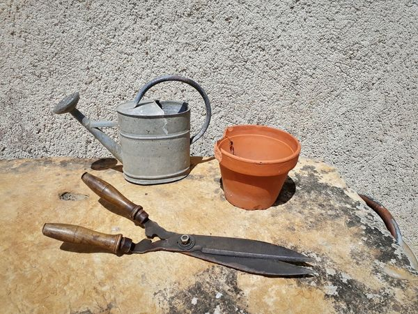 No People Day Close-up Stone Scissors Outdoors Pot Summer Tools Garden Gardener Watering Can Shears Clippers Simple Simplistic Beauty Nature Technics
