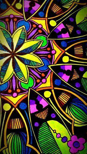Mandala Details Colorful Zen Homemade Relaxing Patience Stabilo Art, Drawing, Creativity My Creation