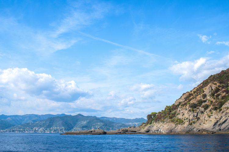 Perspective Porto Pidocchio (Liguria) Rock Formation Trees Air Blue Clouds Coast Liguria Mountain Ridge Mountains Punta Chiappa Rock - Object Rocks Sea Sea Cruise Sky Trees On The Rocks View From The Sea Waterfront