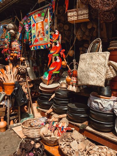 Various objects for sale at market stall