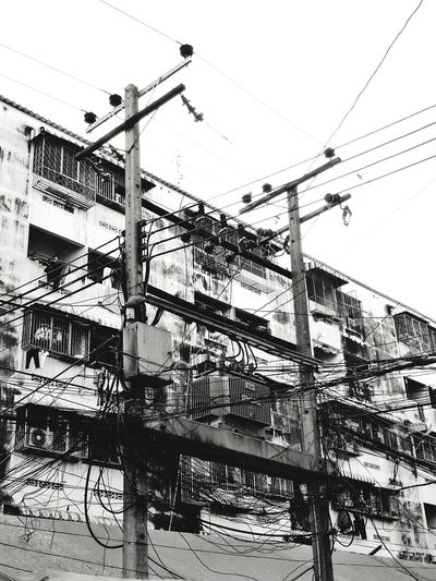 Sky No People Technology Outdoors Electricity Pylon Day Still Photography Blackandwhite Photography Still Life Photograpy Black & White Blackandwhite Building Buildingstyles Condominiums Apartment Building Thai