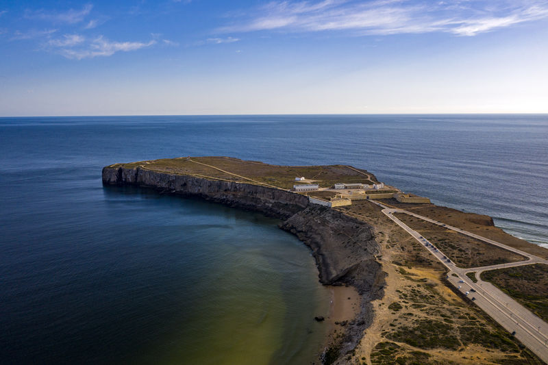 Sagres, portugal. the most southwestern point in europe. aerial drone view.