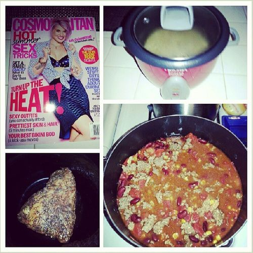 I'm on a cooking spree, chili with brown rice and tri-tip in the slow cooker :) Thisiswhathappenswheniminmyhead lol