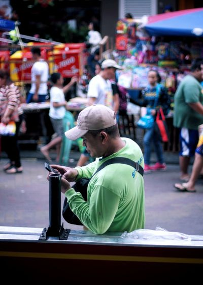 Cubao Quezon City Philippines Street Photography Market Selective Focus Real People The Week On Eyem Outdoors ASIA Men Incidental People Working One Person Crowd Standing