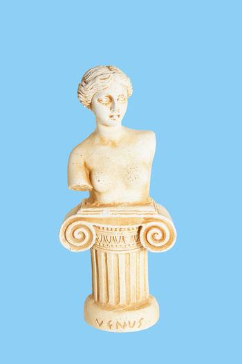 Greek Isolated Afrodite Ancient Civilization Art And Craft Blue Background Close-up Column Culture Greece History Indoors  Ornate Sculpture Souvenir Studio Shot