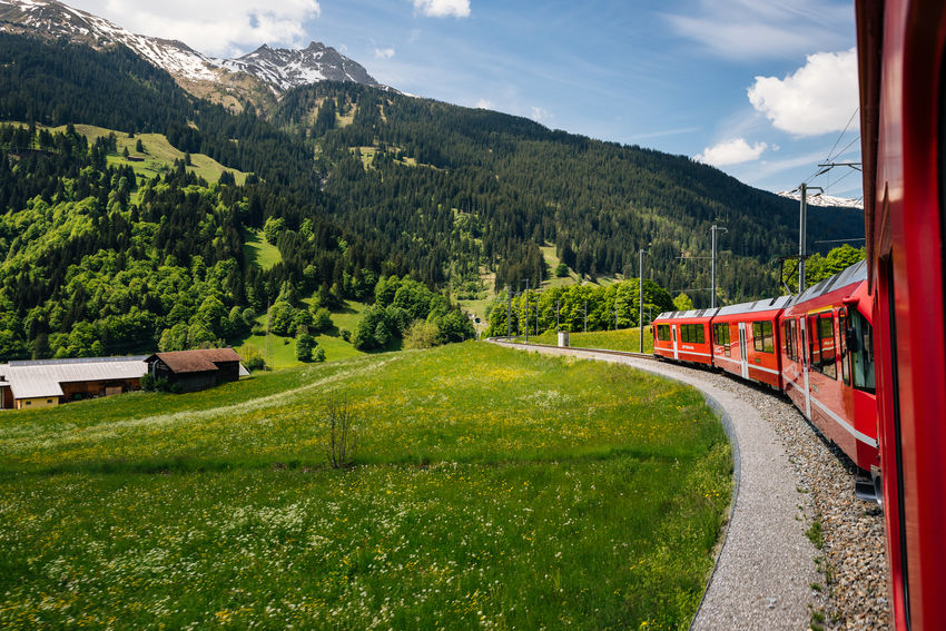 Curves Day Grass Landscape Mountain Rhätische Bahn Sky Train Tree