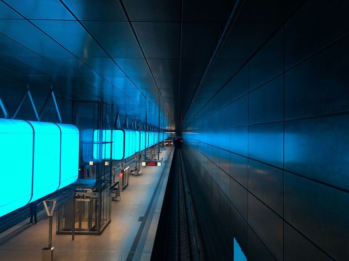 U-Bahn Station HafenCity Light And Shadow Hamburg Hafencity U-Bahn Transportation Mode Of Transportation Architecture Group Of People Illuminated Road Men Travel Incidental People Public Transportation Built Structure Outdoors Land Vehicle Night Rail Transportation Direction Blue Nature People The Way Forward