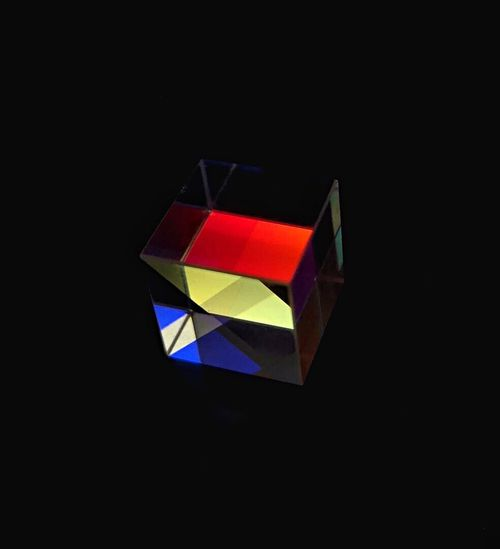 Multi Colored Black Background Studio Shot Indoors  No People Single Object Copy Space High Angle View Geometric Shape Reflection Creativity