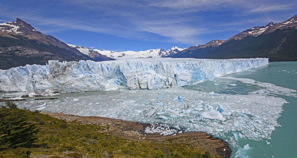 Panoramic view of the perito moreno glacier in los glaciares national park in argentina