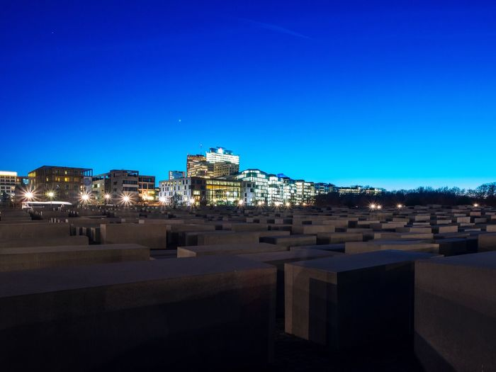 Architecture Building Exterior Blue Copy Space Built Structure Clear Sky City Illuminated Travel Destinations Outdoors Sky No People Night Cityscape Capture Berlin Berlin Memorial Monument Holocaust Memorial