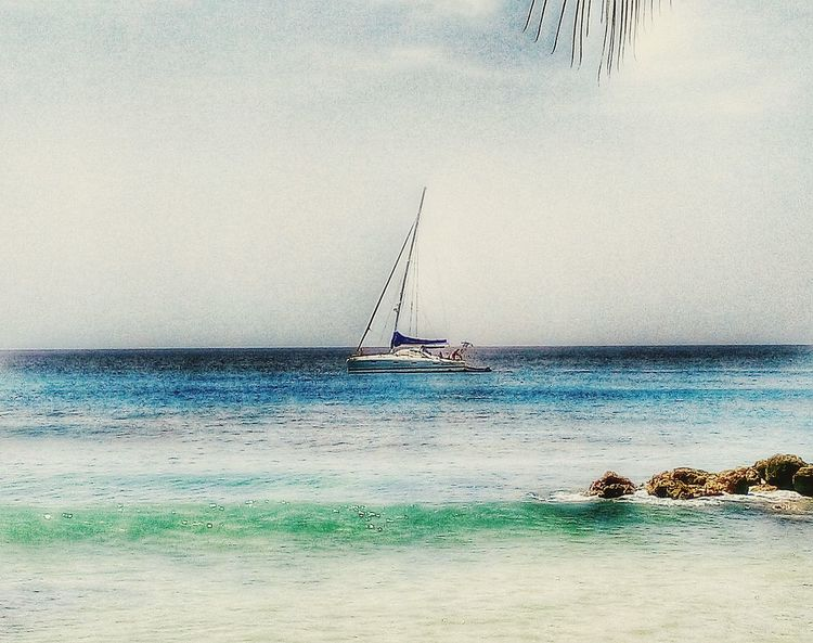 Sea Horizon Over Water Nautical Vessel Transportation Mode Of Transport Water Sailboat Scenics Sky Nature Tranquil Scene Tranquility Outdoors Sailing Beauty In Nature Shore Waterfront Day Seascape Journey Boats⛵️ Water Surface Transportation Blue Barbados