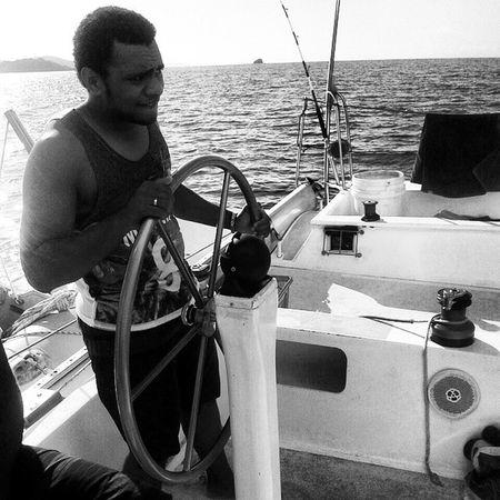 One big kaicolo behind the wheel aye aye Captain Shipwheel Sail Bnw Fiji