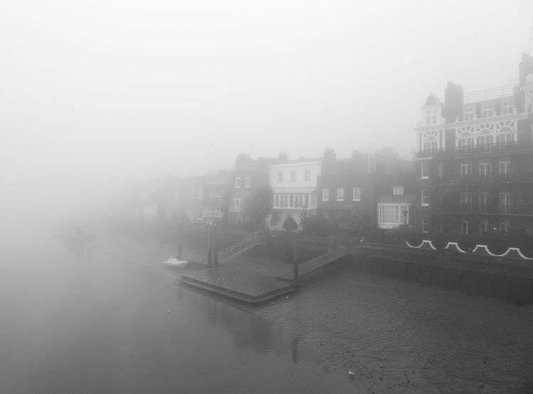 Chiswick Mall in the mist Architecture B&w Black And White Chiswick ChiswickRiverside City Copy Space Foggy London Moody Outdoors River The River Thames Urban W Winter