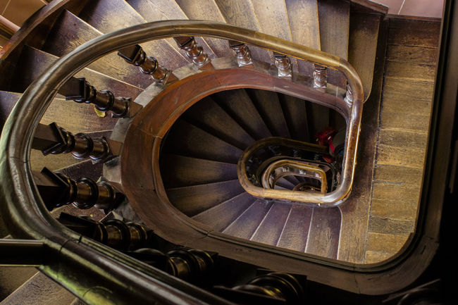 Castle Architecture High Angle View Indoors  No People Spiral Spiral Stairs Staircase Stairs Step Steps Steps And Staircases Wood - Material