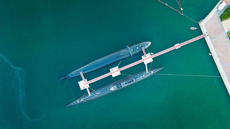 High angle view of ship sailing in swimming pool