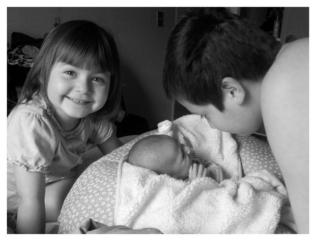 3 Kids Family Black & White Bw