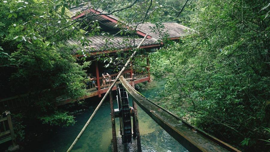China Wuyishan 武夷山 Beautiful Nature Waterfall Water-wheel Pagoda