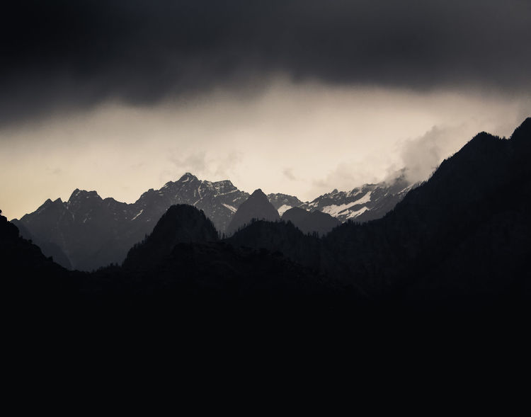 Arrival of the Storm Mountain Sky Scenics - Nature Beauty In Nature Mountain Range Tranquil Scene Tranquility Cloud - Sky Nature Non-urban Scene Environment No People Landscape Silhouette Idyllic Outdoors Mountain Peak Dark darkness and light Weather Monsoon Storm Storm Cloud Himalayas Snowcapped Mountain