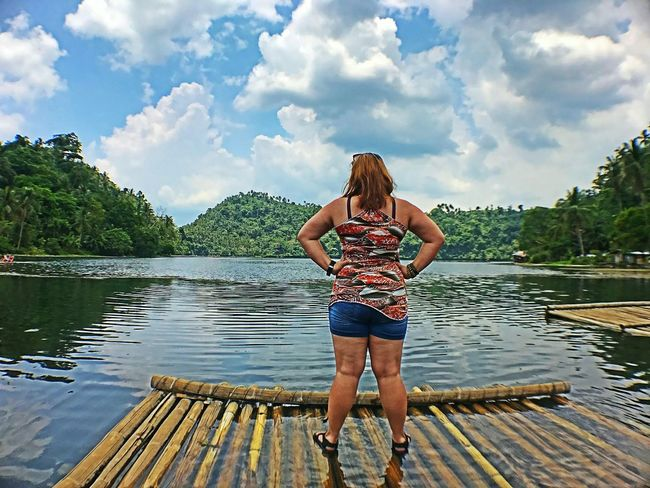Front View Cloud - Sky Full Length One Person Water Outdoors Vacations Portrait Sky Nature Pandinlake Happiness Ghietheexplorer Freshness Beauty In Nature Low Angle View Performance HippyVibes🗿 Philippines Vacations Real People